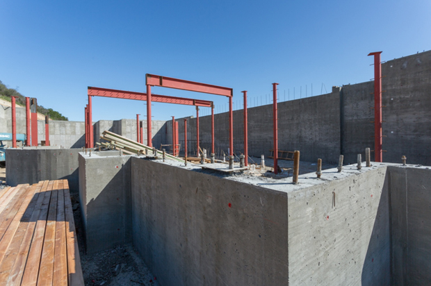 Progress photo of the construction of cement walls for 393 Stafford Road in Hidden Valley, CA