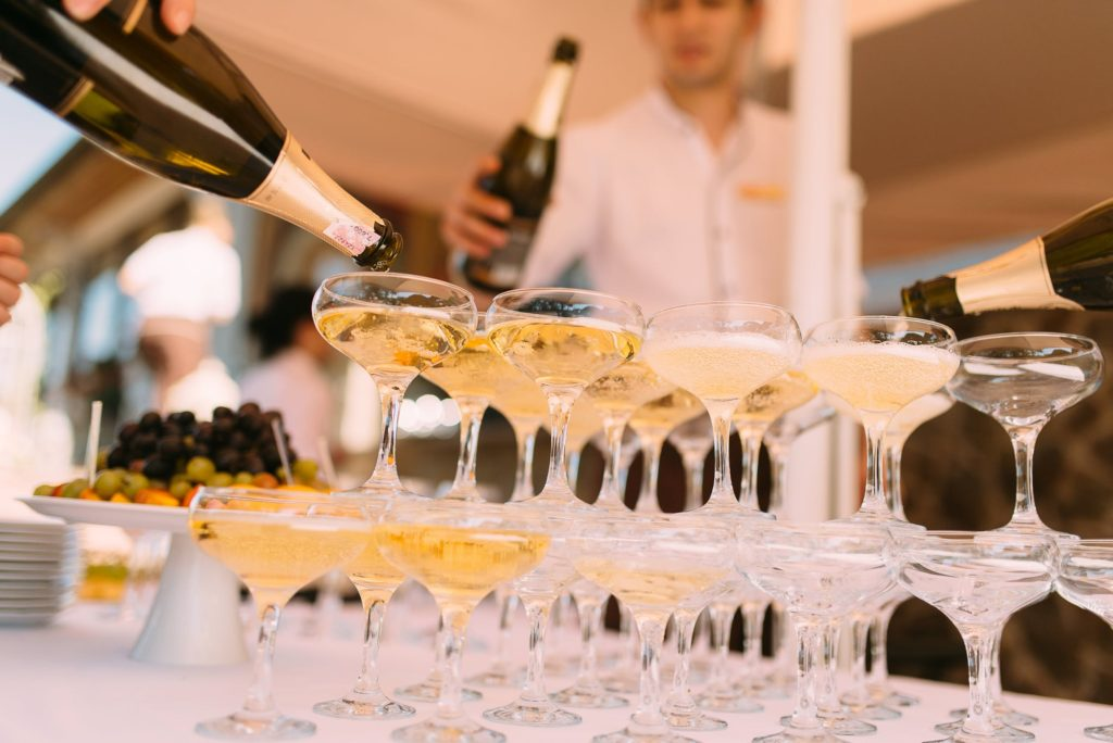 Champagne prepared at a wedding event
