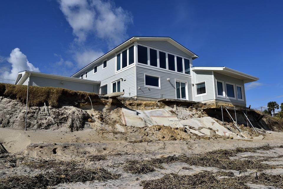 Damaged home in a landslide