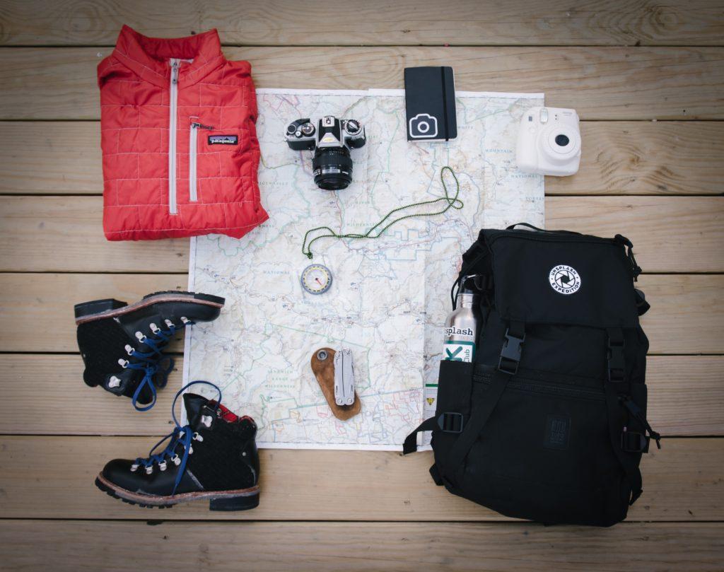 camping equipment map gear
