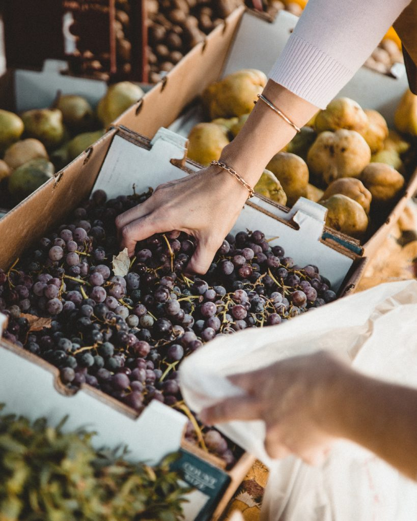fresh grapes and fruit