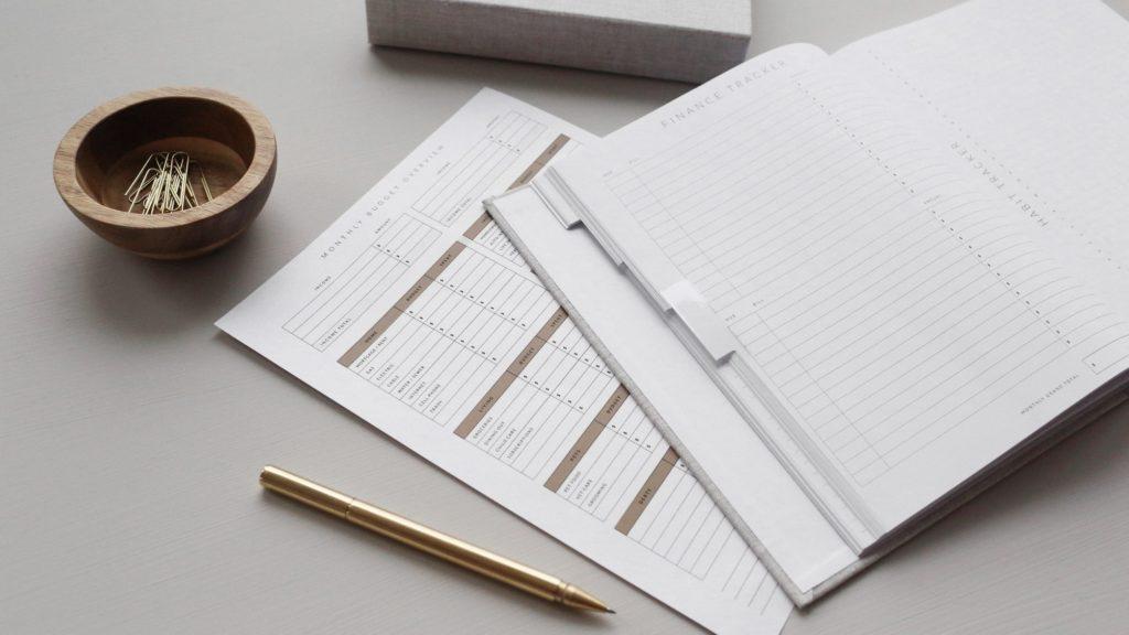 paperwork financial budget