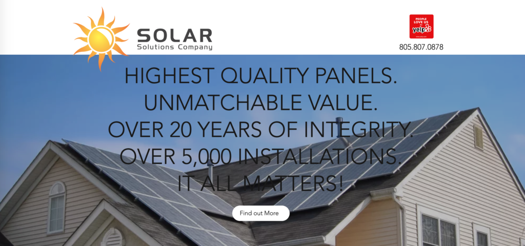 Solar Solutions Company website homepage