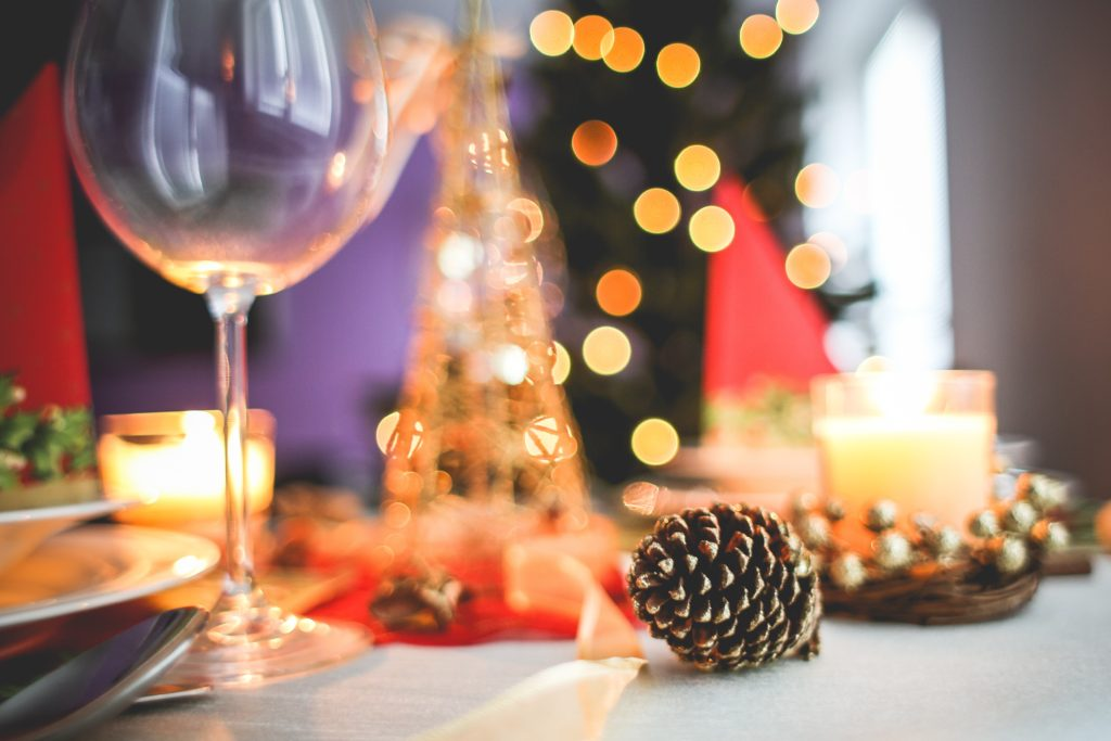 Christmas party table with decorations