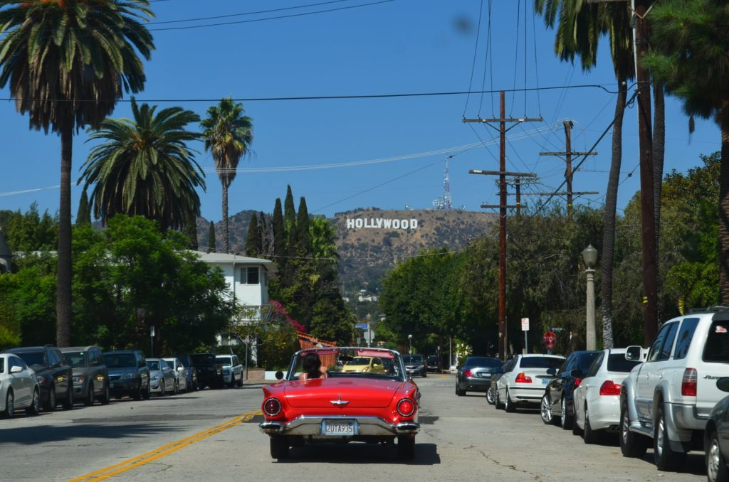 Los Angeles street with Hollywood sign