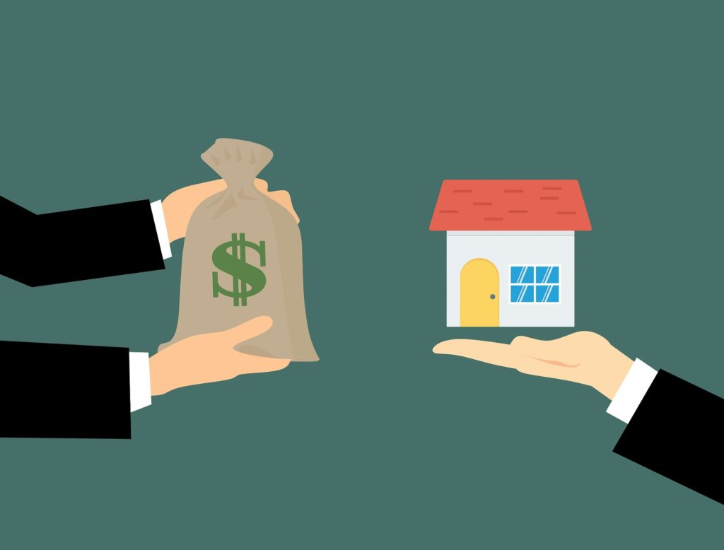 graphic of one person lending money to another for a home