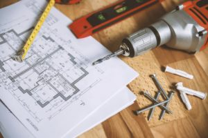 floor plan on table with tools