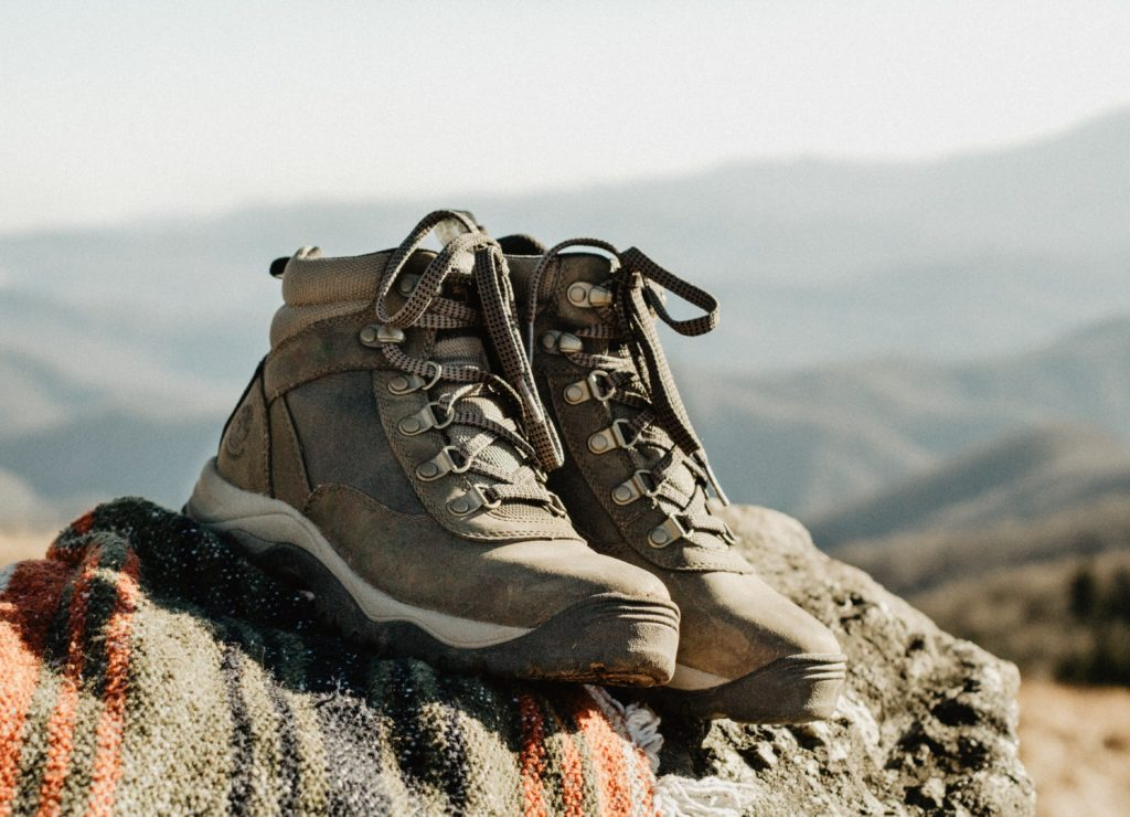 hiking shoes on rock